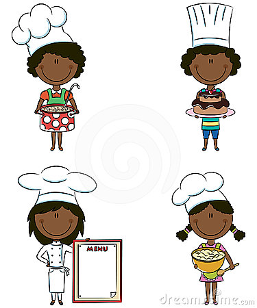 Cute African-American chef girls