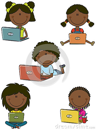 Cute African-American girls with laptops