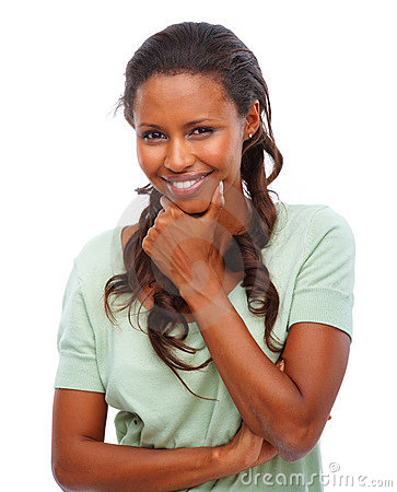 Cute African American woman smiling over white