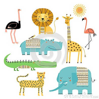 Cute African animals. Vector set of children`s drawings. Traditional ornaments, ethnic and tribal motifs. Doodle style. Stock Photo