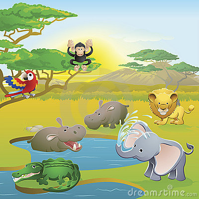 Free Cute African Safari Animal Cartoon Scene Royalty Free Stock Photography - 19675857