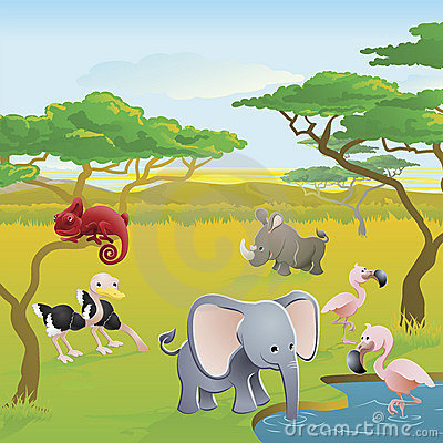 Free Cute African Safari Animal Cartoon Scene Royalty Free Stock Photos - 19675858