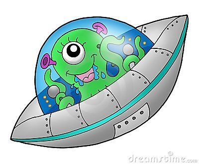 Cute alien in spaceship