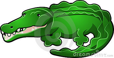 Cute Alligator or Crocodile Cartoon Vector Illustration