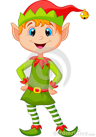 Free Cute And Happy Looking Christmas Elf Cartoon Stock Photos - 34612473