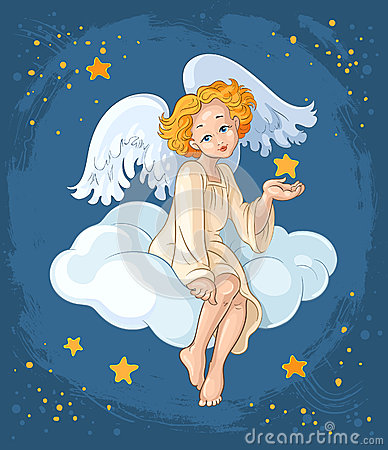 Cute angel girl sitting on a cloud