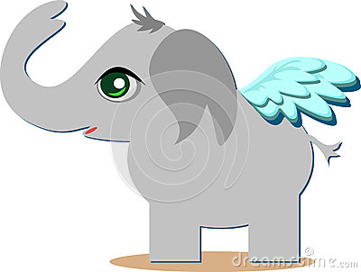 Cute Angelic Elelphant with Wings