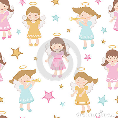 Free Cute Angels Seamless Pattern Royalty Free Stock Images - 28362309