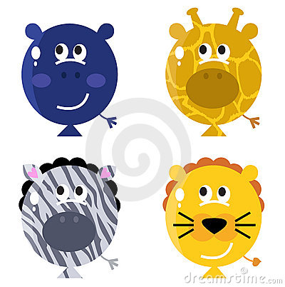Cute animal balloon faces set