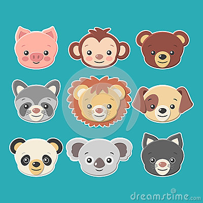 Free Cute Animal Faces Stickers Set -vector Eps8 Royalty Free Stock Photos - 42964508