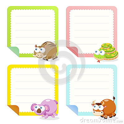 Cute Animal Note Papers Collection Photo Image 31533600 – Collection Note
