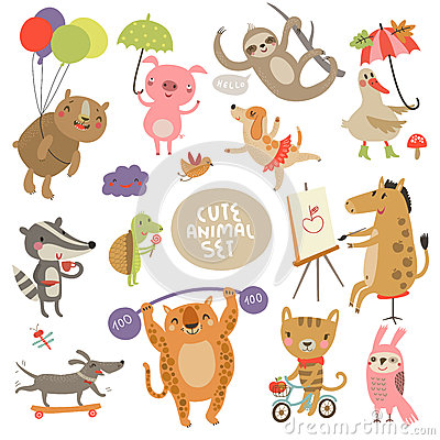 Free Cute Animal Set Illustrations With Characters Royalty Free Stock Photography - 60100727
