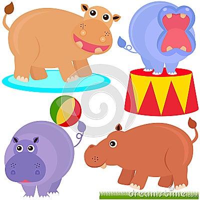 Cute Animal Vector Icons : hippopotamus (hippo)