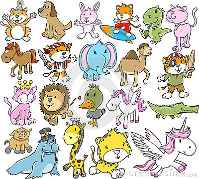 Free Cute Animal Vector Set Royalty Free Stock Photography - 22734797