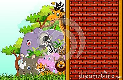 Cute animal wildlife cartoon