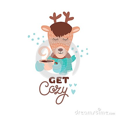 Free Cute Animal With Coffee Mug Vector Colorful Illustration. Lovely Deer In Scarf With Coffee Hot Drink Cup Stock Photography - 108888952
