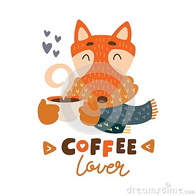 Free Cute Animal With Coffee Mug Vector Colorful Illustration. Lovely Fox In Scarf With Coffee Hot Drink Cup Stock Image - 108888941