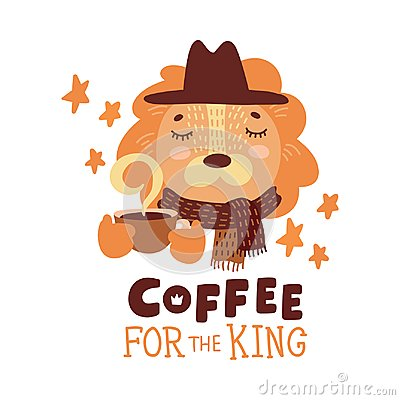 Free Cute Animal With Coffee Mug Vector Colorful Illustration. Lovely Lion In Hat And Scarf With Hot Drink Cup Stock Photography - 108888992