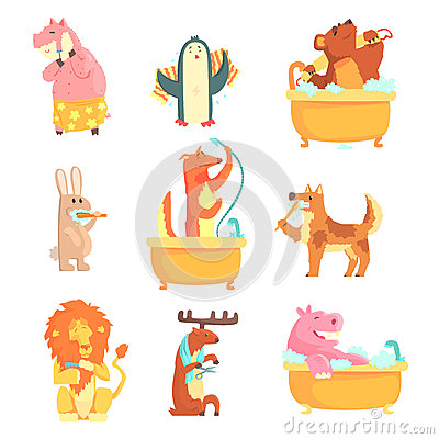 Free Cute Animals Bathing And Washing In Water, Set For Label Design. Hygiene And Care, Cartoon Detailed Illustrations Stock Photos - 89840223
