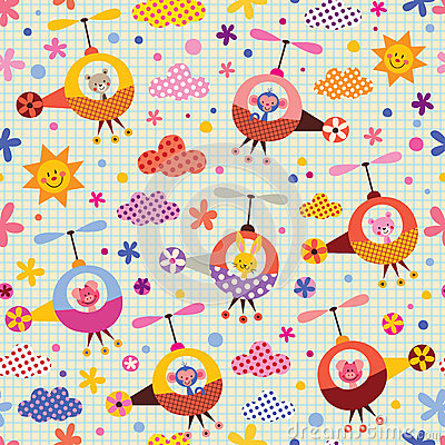 Cute animals in helicopters kids pattern