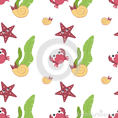 Free Cute Animals In Flat Style - Crab, Starfish, Shell. Stock Photography - 92457632