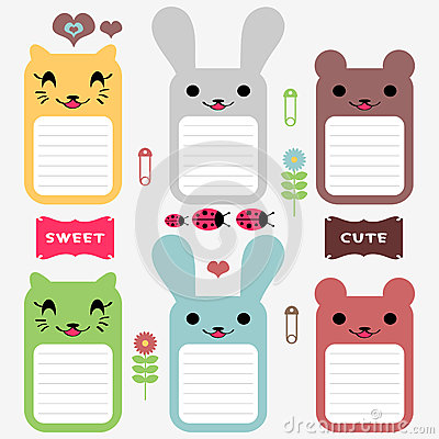 Cute animals scrapbook elements