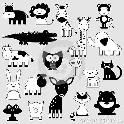 Cute animals set wild and domestic