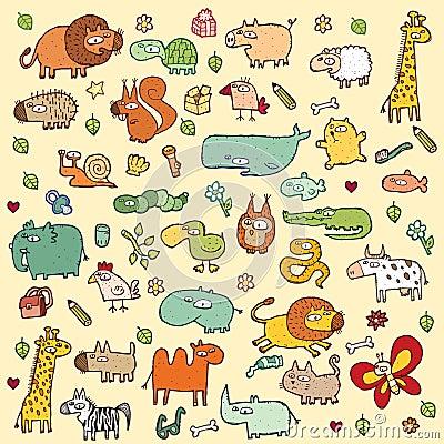 Free Cute Animals SET XL Stock Photo - 29446140