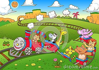 Cute animals  train