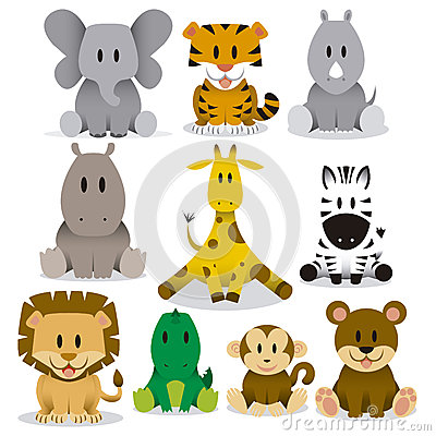 Free Cute Animals Vector Set Stock Image - 32242891