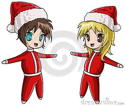 Cute Anime Santa girl and boy