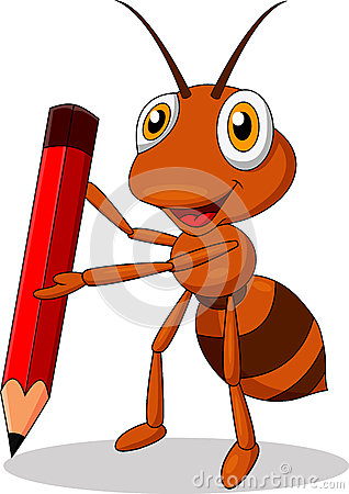 Free Cute Ant Cartoon Holding A Red Pencil Stock Photography - 29822042