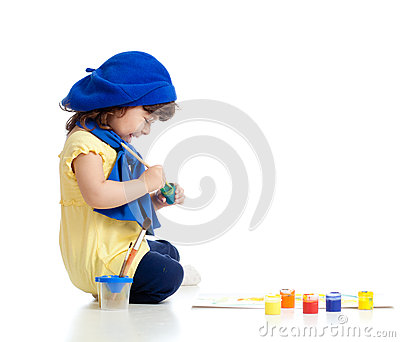 Cute artist child drawing and painting