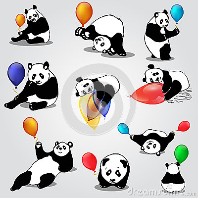 Cute asian bears with balloons Stock Photo