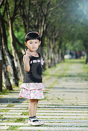 Cute asian little girl