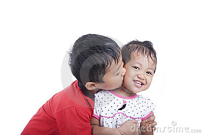 Cute Asian Sibling over White