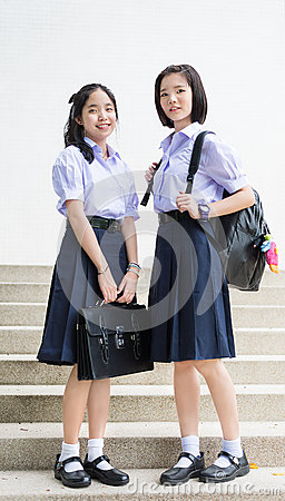 Free Cute Asian Thai High Schoolgirls Student Couple Standing Royalty Free Stock Photo - 78090775