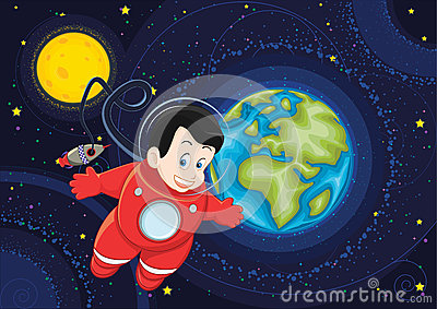 Cute astronaut flying in space vector illustration