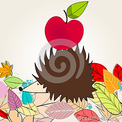 Cute autumn illustration with hedgehog and apple
