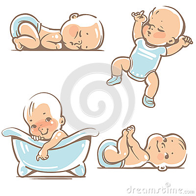 Free Cute Babies In Blue Clothes. Stock Image - 61218341