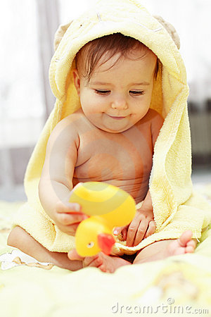 Free Cute Baby After Bath Stock Photos - 4116553