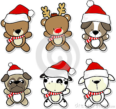 Cute baby animals with christmas hat and scarf cartoon for Christmas pictures of baby animals