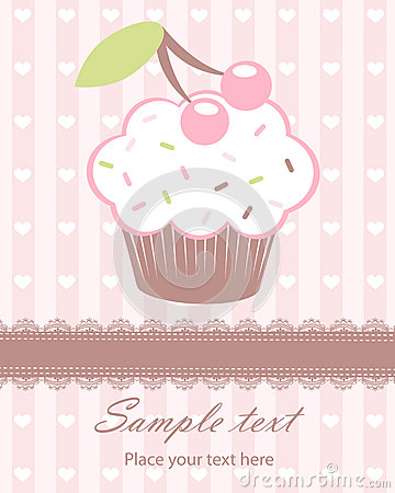 Cute baby arrival announcement card with cupcake