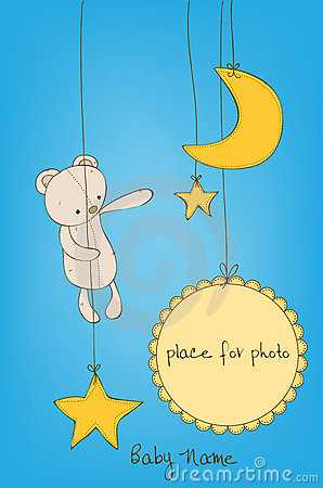 Free Cute Baby Arrival Card Royalty Free Stock Photography - 22012337