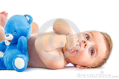Cute baby with bear