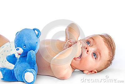 Cute baby and blue bear