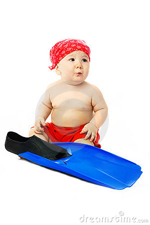 Cute baby with blue flippers