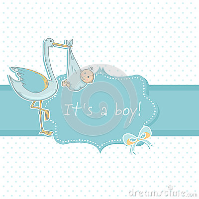 Cute baby boy announcement card with stork and chi
