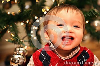 Cute Baby Boy at Christmas