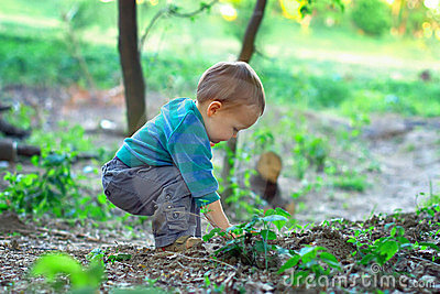Cute baby boy digging in ground in spring forest